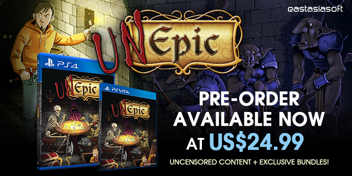 Unepic Physical Version now available for PlayStation 4 and PlayStation Vita!