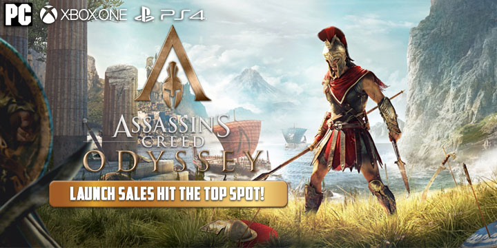 Assassin's Creed Odyssey, PlayStation 4, Xbox One, US, North America, Europe, Australia, Japan, release date, gameplay, trailer, price, features, Season Pass and Post Launch Trailer, update, sales, launch sales