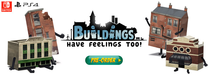 buildings have feelings too!, ps4, playstation 4, switch, nintendo switch, us, north america, europe release date, gameplay, features, price, pre-order now, merge games, blackstaff games