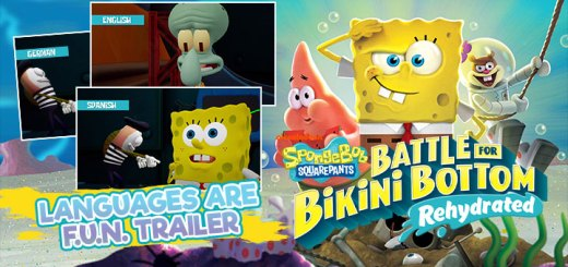 SpongeBob SquarePants: Battle for Bikini Bottom - Rehydrated, PS4, XONE, Xbox One, Playstation 4 , Switch, Nintendo Switch US, North America, EU, Europe, release date, gameplay, features, price, pre-order, THQ nordic, purple lamp studios, Languages are FUN Trailer, voice-over options, multi-language, SpongeBob SquarePants