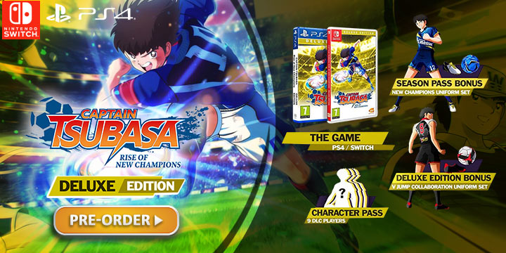 Captain Tsubasa: Rise of New Champions, PS4, PlayStation 4, Bandai Namco Entertainment, Nintendo Switch, Europe, release date, features, price, pre-order now, trailer, Captain Tsubasa game 2020, Deluxe Edition, Captain Tsubasa: Rise of New Champions Deluxe Edition, Captain Tsubasa Deluxe Edition