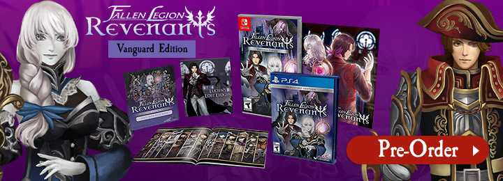 Fallen Legion: Revenants [Vanguard Edition], Fallen Legion Revenants, Fallen Legion Revenants Vanguard Edition, PS4, PlayStation 4, Switch, Nintendo Switch, États-Unis, Amérique du Nord, captures d'écran, caractéristiques, date de sortie, prix, bande-annonce