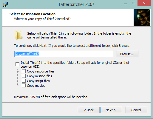Installing Thief 2 with Tafferpatcher