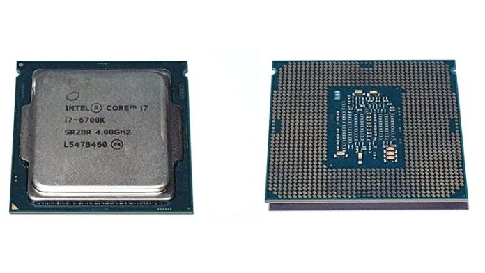 Intel Core i7 6700K front and back of the CPU