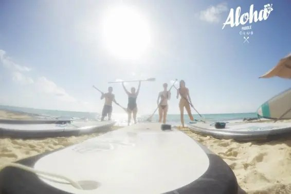 Getting ready to paddle board at Aloha Paddle Playa del Carmen