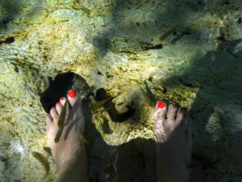 Feet in cenote azul