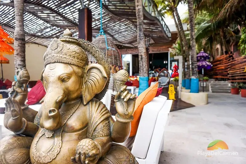 Elephant statue at inti beach club