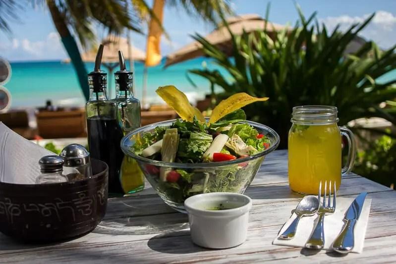 Fresh salad at inti beach club
