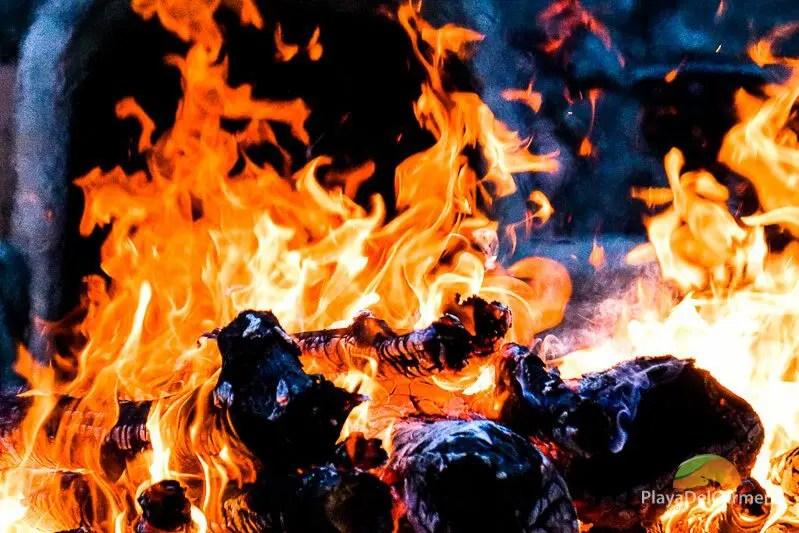 Temazcal fire Tulum