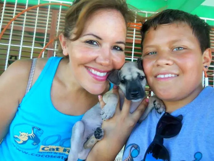Mother/son picture with cute puppy at ViDAS