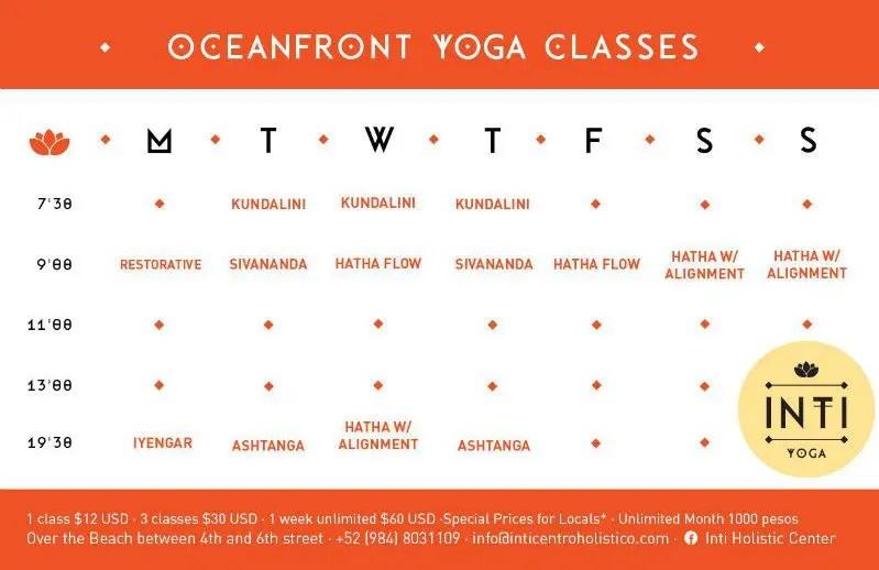 yoga classes schedule on calendar for the inti beach club