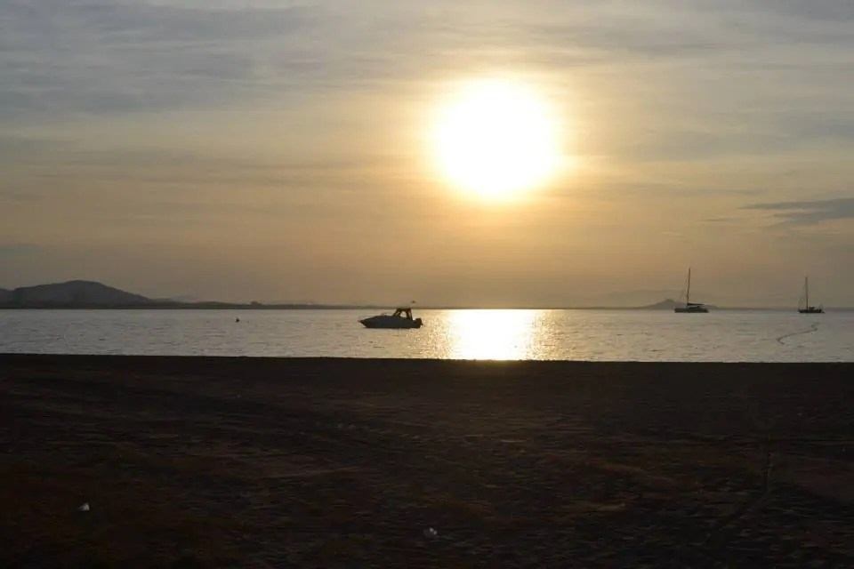 The sun's reflection in the Mar Menor