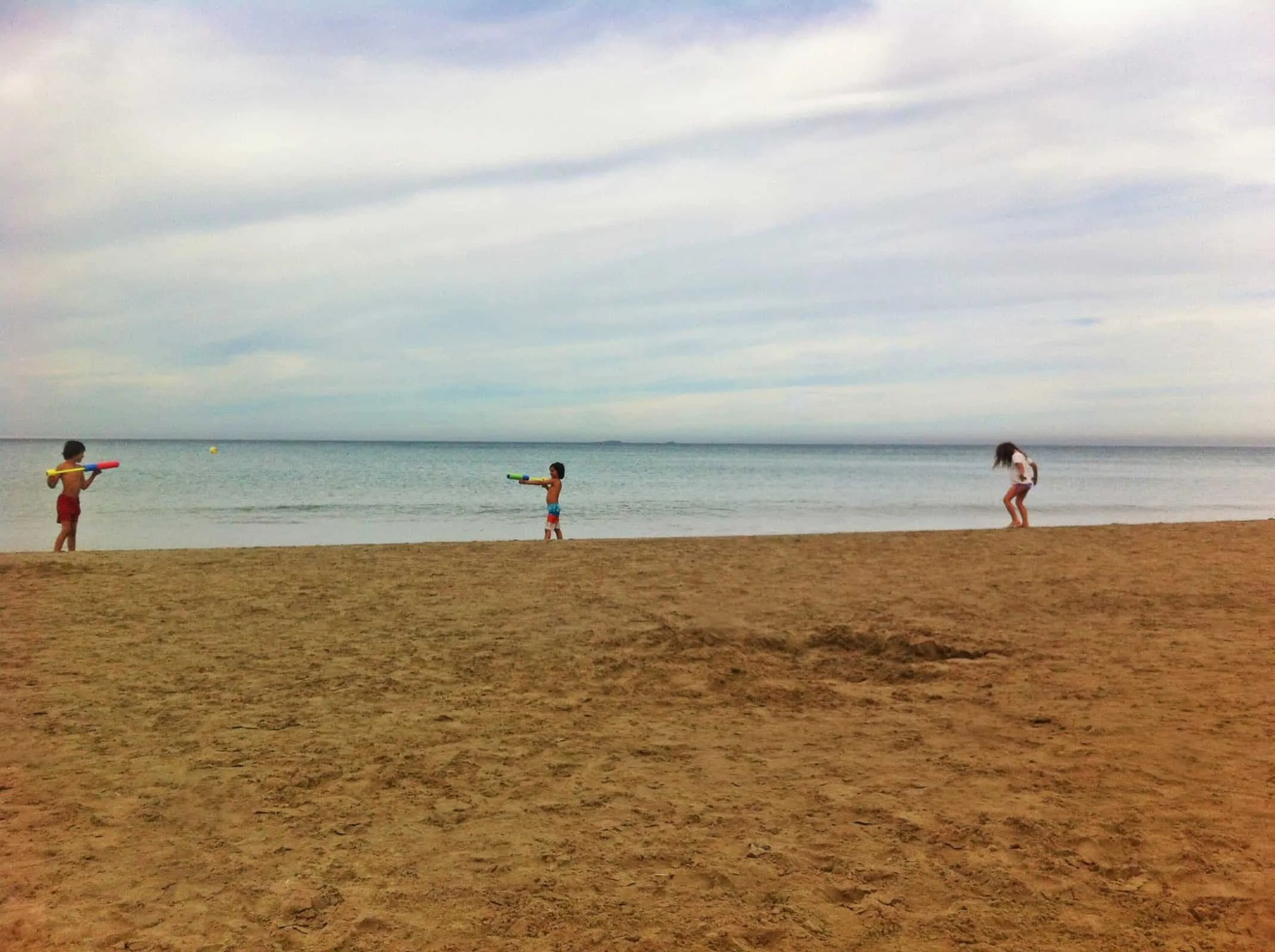 Water pistol fight at Entremares beach in La Manga