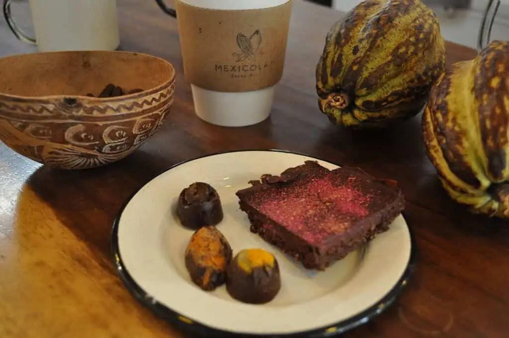 Truffles, brownie and hot chocolate at Mexicolate, San Pancho, Nayarit