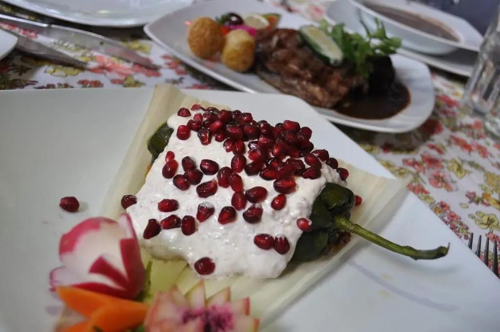 Chile en Nogada at Sacromonte Restaurant Guadalajara