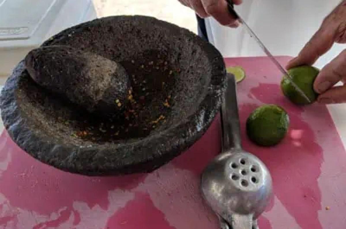 Molcajete, chile and lime