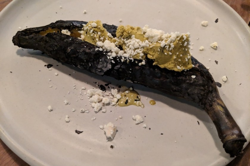 Grilled Banana with Ice Cream and Cheese