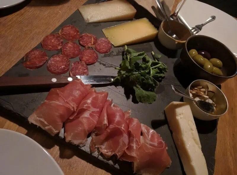 Charcuterie plate at Cru wine Bar