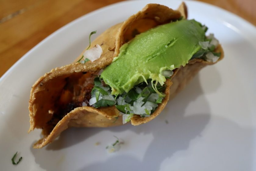 Types of tacos include a quesadilla sin queso
