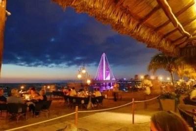 Puerto Vallarta beach and pier at sunset
