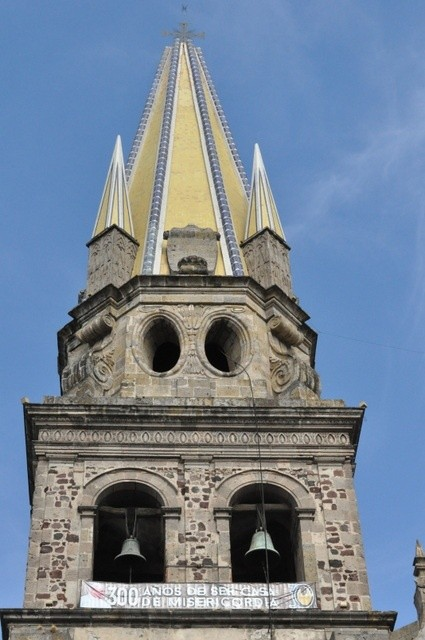 Close up of the Guadalajara Cathedral gothic bell tower