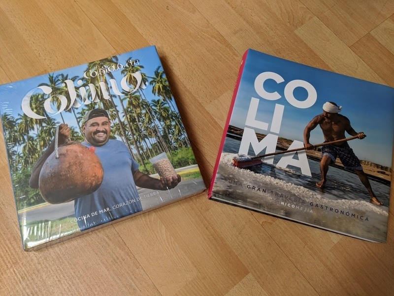 Colima cookbooks by Nico Mejía with cover showing the making of Colima sea salt