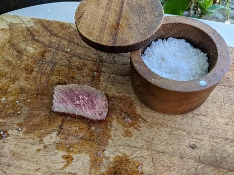Colima sea salt on steak