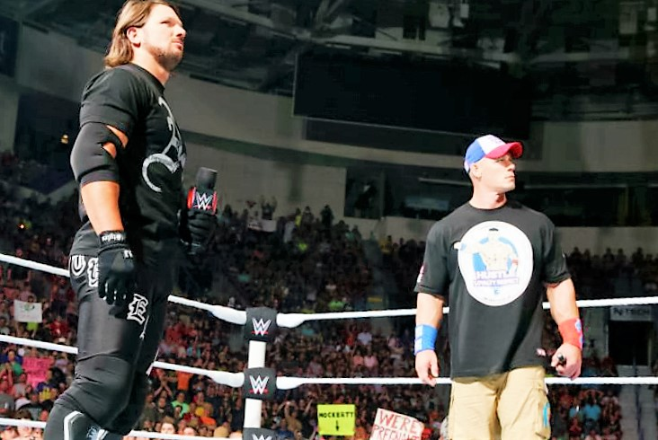 WWE SmackDown Live Results October 4 - showdown between AJ Styles, John Cena and Dean Ambrose