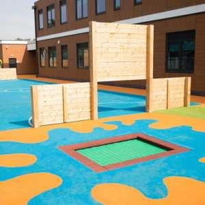 Inset trampoline, playground surfacing, Playcubed, Valley Provincial, Primary school playground, playground installation, playground construction, bespoke playground design