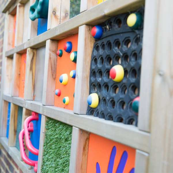 large sensory panels, Playcubed, Valley Provincial, Primary school playground, playground installation, playground construction, bespoke playground design, playground equipment, sensory play area, inclusive play