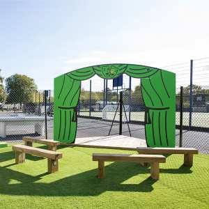 school role play stage, Playcubed, Valley Provincial, Primary school playground, playground installation, playground construction, bespoke playground design, playground landscaping, playground equipment, playground seating