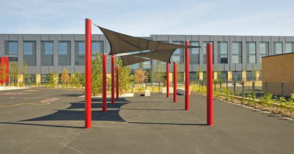 Shade sail, Playcubed, Valley Provincial, Primary school playground, playground installation, playground construction, bespoke playground design, playground shelter, playground equipment
