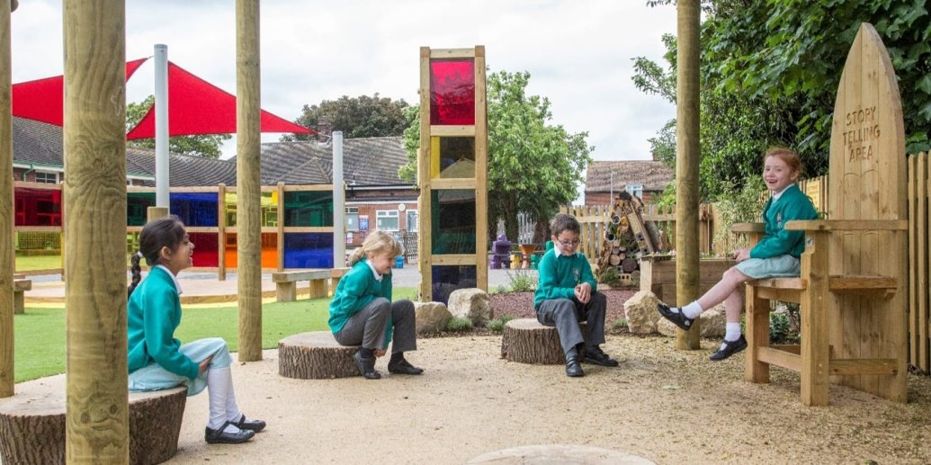 storytelling chair, Playcubed, Outdoor Play, Primary school playground, playground installation, playground construction, bespoke playground design, themed play area, playground equipment, playground landscaping