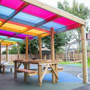 playground canopy, Timber white canopy, Playcubed, Valley Provincial, Primary school playground, playground installation, playground construction, playground shelter, playground seating area