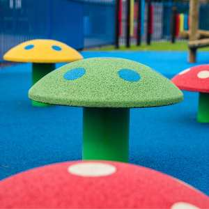 Toadstool seating, Playcubed, Valley Provincial, Primary school playground, playground installation, playground construction, bespoke playground design, themed play area, playground equipment, playground landscaping