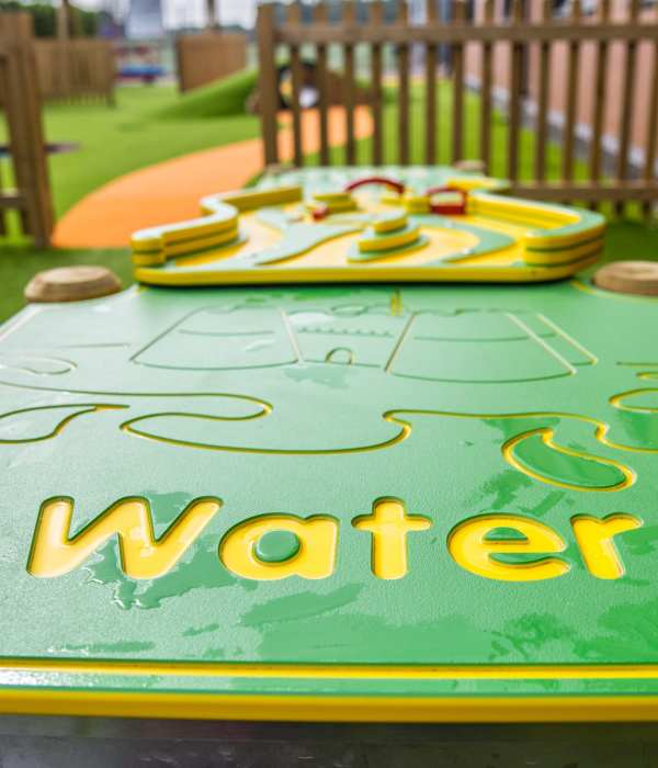 water tray, school water play, Playcubed, Valley Provincial, Primary school playground, playground installation, playground construction, bespoke playground design, playground equipment, sensory play area