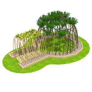 willow shelter, Playcubed, Valley Provincial, Primary school playground, playground installation, playground construction, bespoke playground design, playground equipment, nature play area