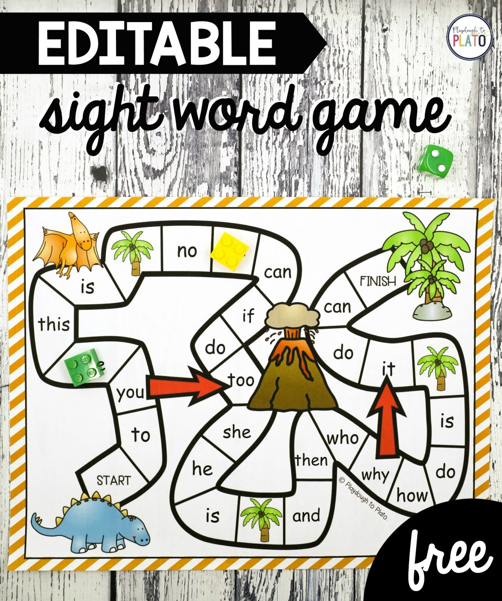 medium resolution of Dinosaur Sight Word Game - Playdough To Plato