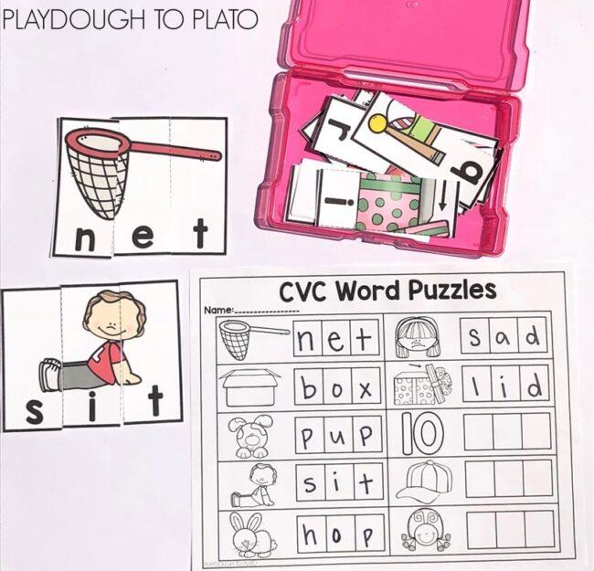 cvc word puzzles playdough
