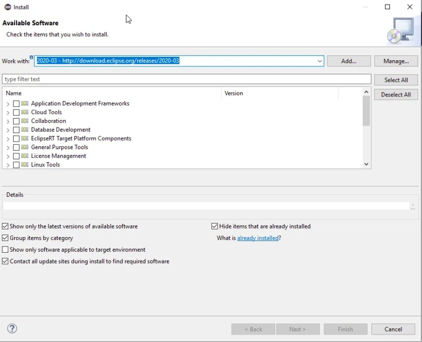 Install new software window in Eclipse
