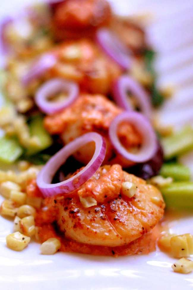 Scallops with Corn and Pepper Sauce 4