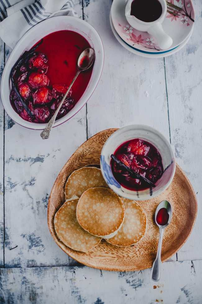 Vanilla Poached Plums With Pancakes | Playful Cooking