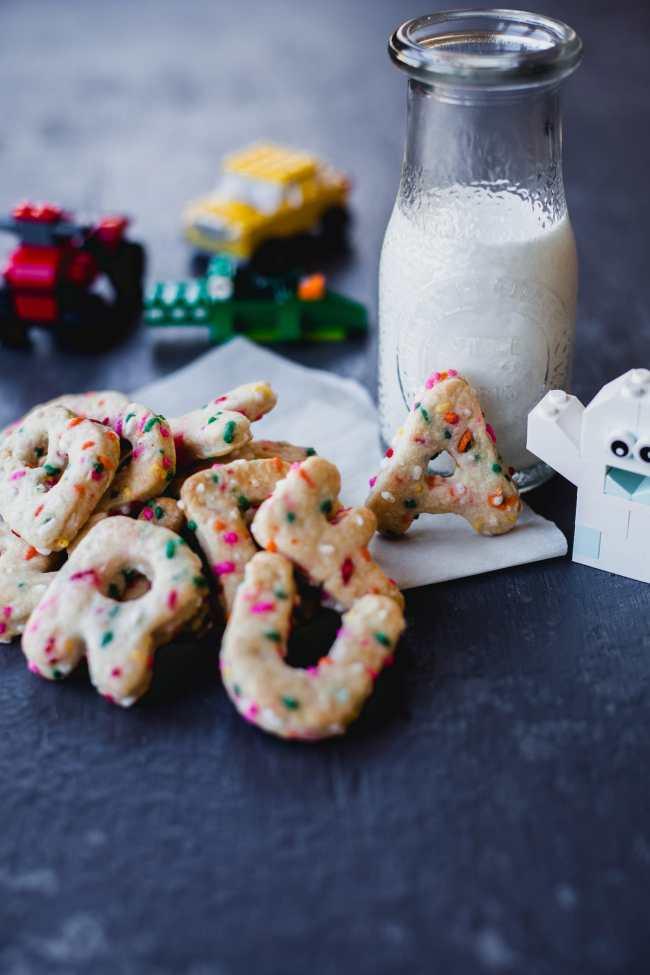 Rainbow Sprinkled Alphabet Cookies | Playful Cooking