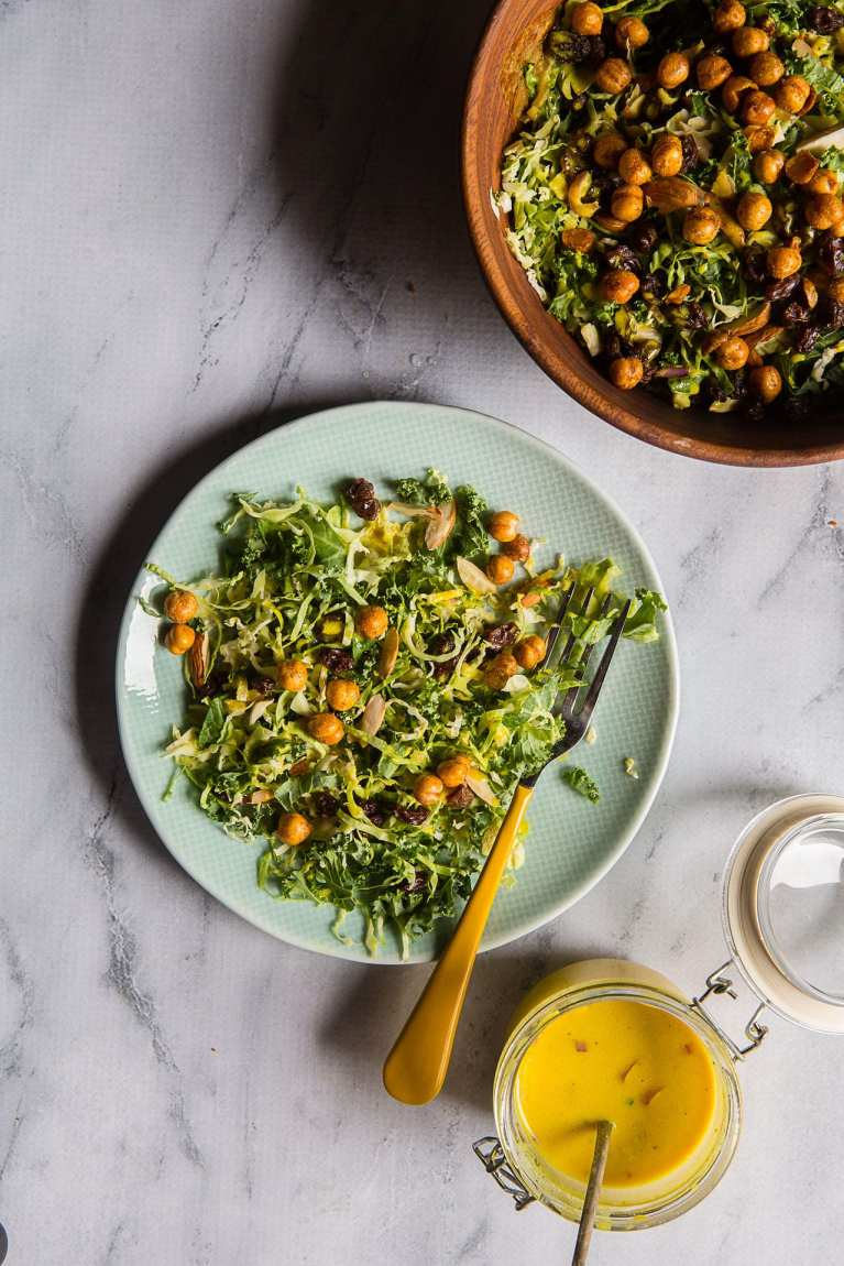 Kale and Brussel Sprouts Salad with Turmeric Honey Yogurt Dressing (Indian Simmer) | Playful Cooking