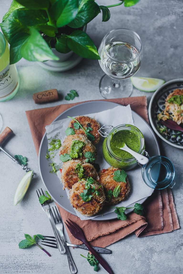 Spiced Crab Cake with Chimichurri Sauce | Playful Cooking