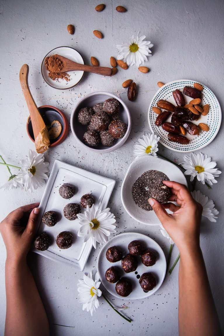 Cocoa Chia Nut Energy Balls   Playful Cooking #enerygyballs #chia #foodphotography #playfulcooking #nobake