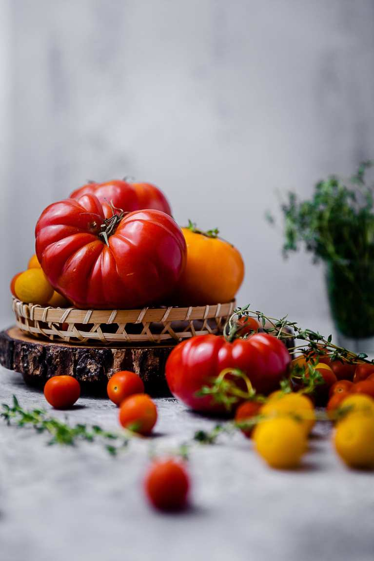 Heirloom Summer Tomatoes in a basket