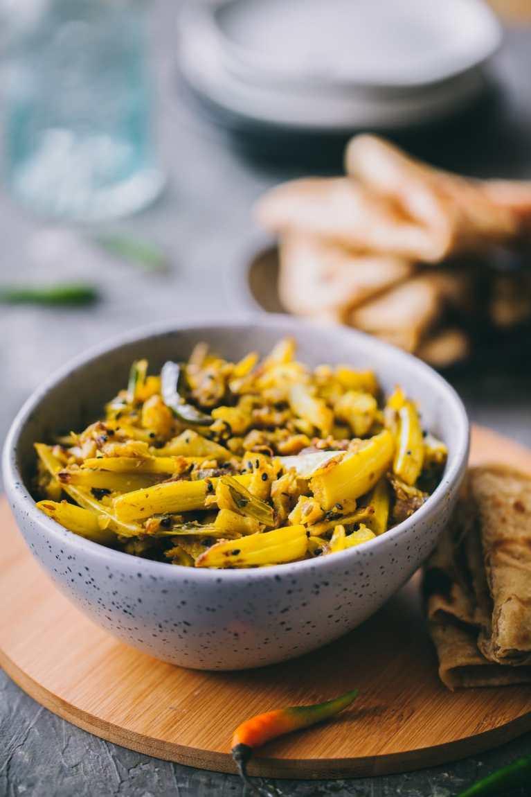 EASY vegetarian dish with cauliflower stems! #cauliflower #vegetarian #glutenfree #indian #bengali