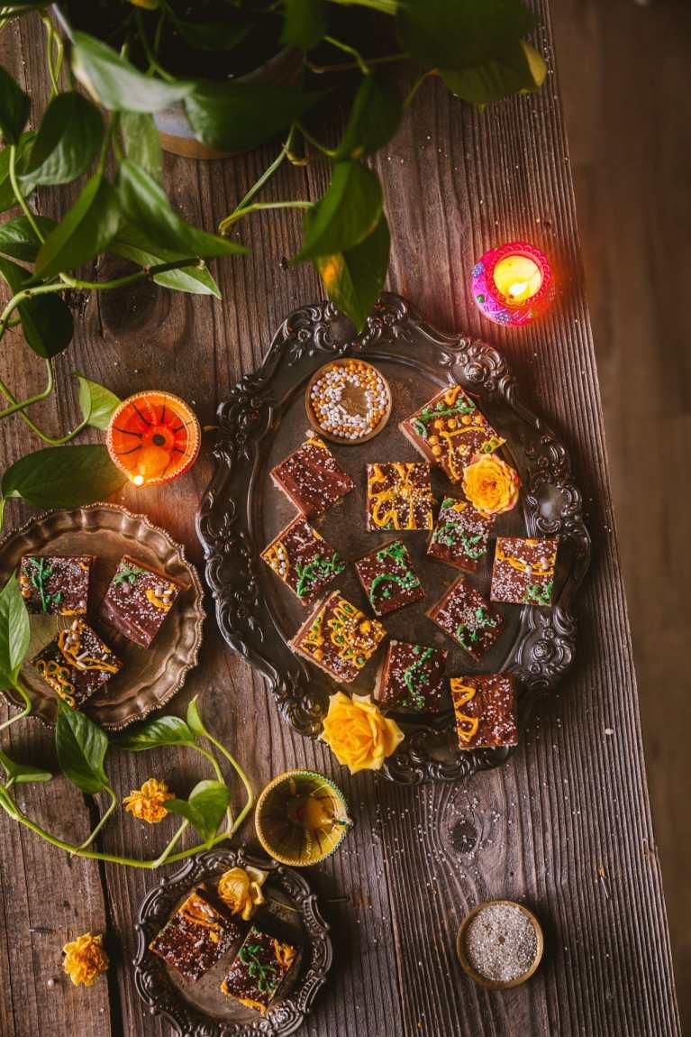 Diwali sweets! Chocolate Cashew Fudge