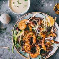 Stir Fry Shrimp with Lemon Aioli